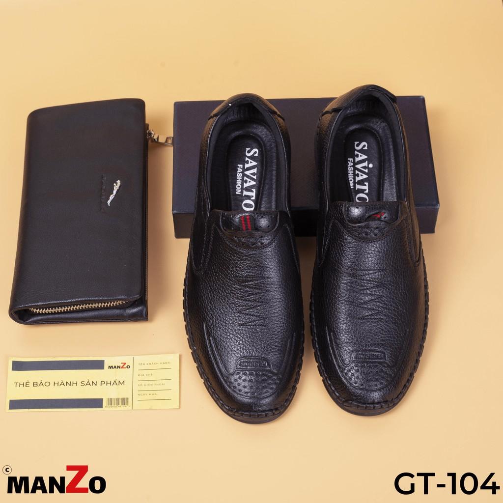 [DA THẬT] GIÀY TÂY NAM GIÁ RẺ - GIÀY NAM DA BÒ BẢO HÀNH 12 THÁNG - GT104 DEN MANZO