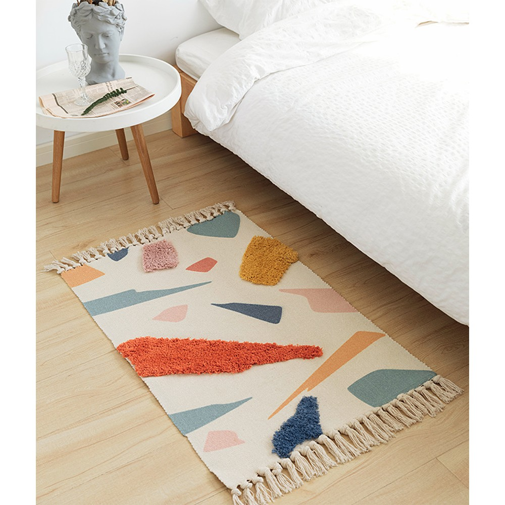 Thảm Scandinavian sợi cotton hoa văn nổi 60x90cm