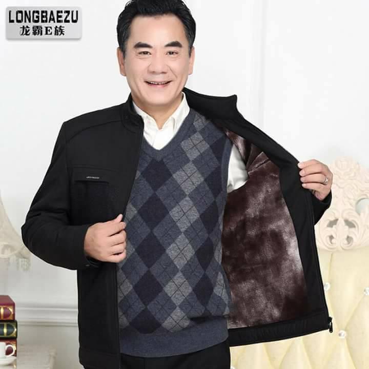 Áo khoác ấm lót nỉ lông ấm cho người trung tuổi QC
