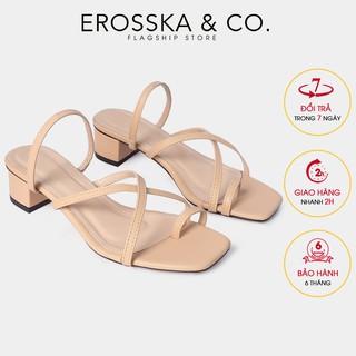 Dép cao gót Erosska xỏ ngón phối dây cao 3cm màu nude _ EM066