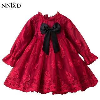 NNJXD Đầm công chúa tay dài phối ren hoa cho bé gái 3-8 tuổi
