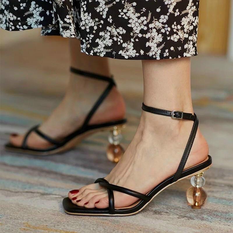Sandal quai da xoắn chéo gót mica I phối màu 5p (hàng đẹp)