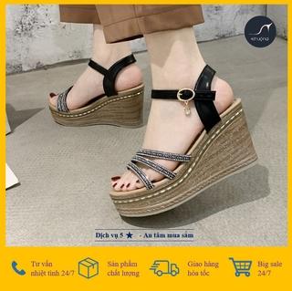 [Giá hủy diệt] Sandal Nữ Đế Xuồng Quai Nice Kim Cương Kết Hợp Đế Vân Gỗ Kim Cương 9cm Thời Trang Hàn Quốc