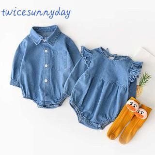Bộ áo liền quần denim trơn màu cho bé gái