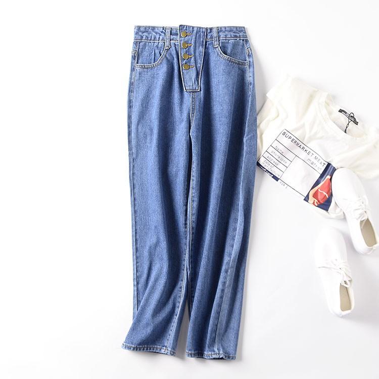 I@3 2019 autumn women's high waist solid color jeans zipper button slim straight