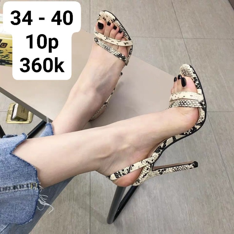 (HÀNG K CÓ SẴN) Sép sandal vân da trăn sang trọng - 10cm - 04099