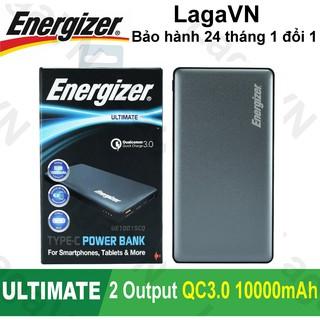 Pin sạc dự phòng Energizer 10000mAh 2 cổng Output Quick Charge 3.0 - UE10015CQ(Xám)