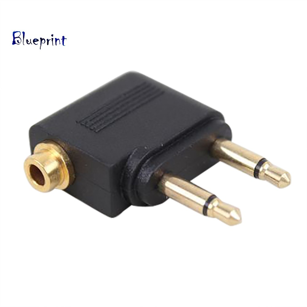 ☞BP3.5mm Female to 2 Male Stereo Airplane Headset Ear Audio Adapter Converter Plug