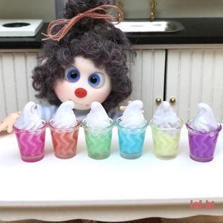 lof-bt 6Pcs 1:12 Dollhouse Miniature Ice cream cup sundae Model Dolls Kitchen Food