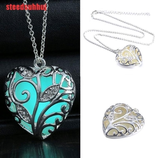 (TTY-COD)New Glow In The Dark Heart Pendant Necklace Chain Luminous Magical Women Gift