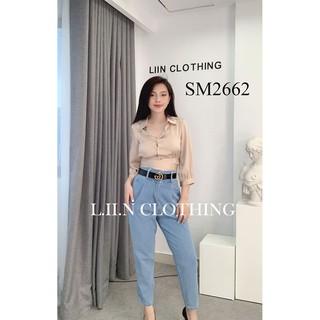 Áo sơ mi nữ tay lỡ LINBI CLOTHING màu be, thiết kế phong cách croptop năng động, xinh xắn SM2662