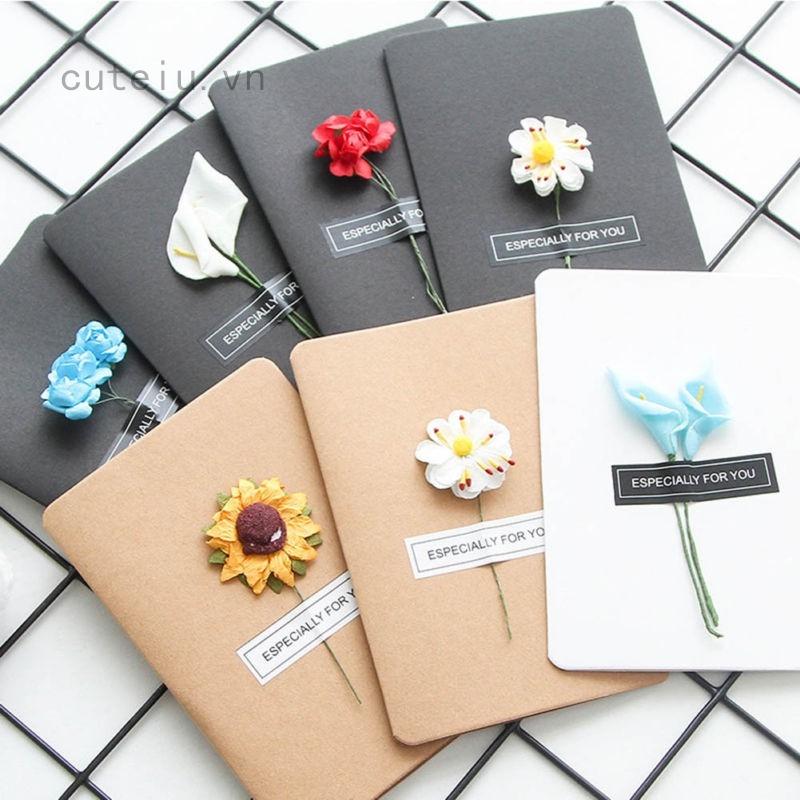 Thiệp mời sinh nhật hoa khô handmade phong cách retro