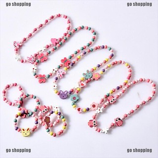 go shopping 1sets Wooden beaded cartoon animal necklace girl party supply gift thumbnail