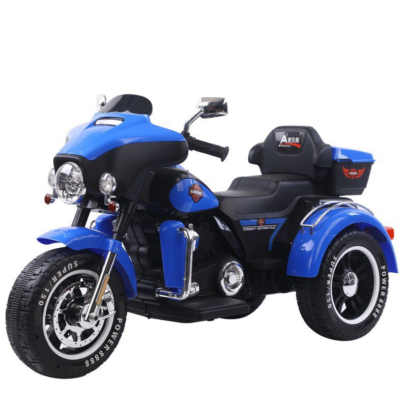 Xe máy điện moto 3 bánh ABM 5288 dáng thể thao cảnh sát cho bé đạp ga (Đỏ-Trắng-Xanh-Đen)