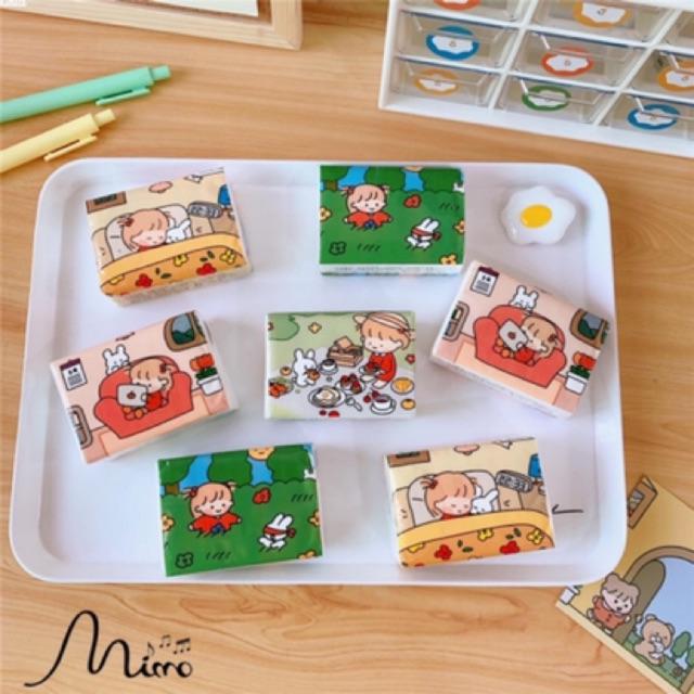 Gói Khăn Giấy Mini Cầm Tay Bỏ Túi Họa Tiết Cô Gái Nhật Cute