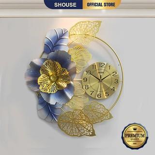 Đồng Hồ Trang Trí Treo Tường SHOUSE DC225 hình bông hoa kim trôi phong cách hiện đại nghệ thuật cho phòng khách