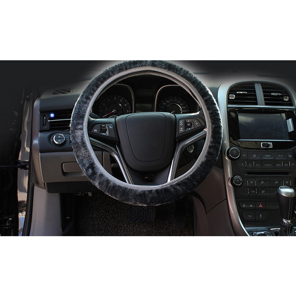 Soft Short Plush Winter Car Steering Wheel Cover Vehicle Grips Skin Black