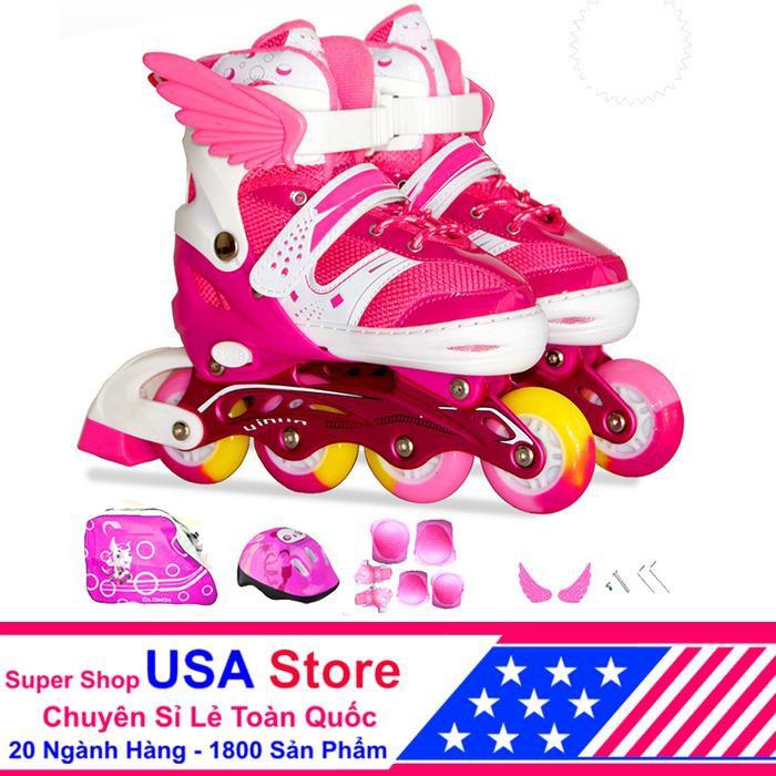 [Nhập mã MASO10 - giảm 10% - đơn trên 400K] Giày Trượt Patin F1 Cánh Thiên Thần Đủ Bộ Hồng Size M (3