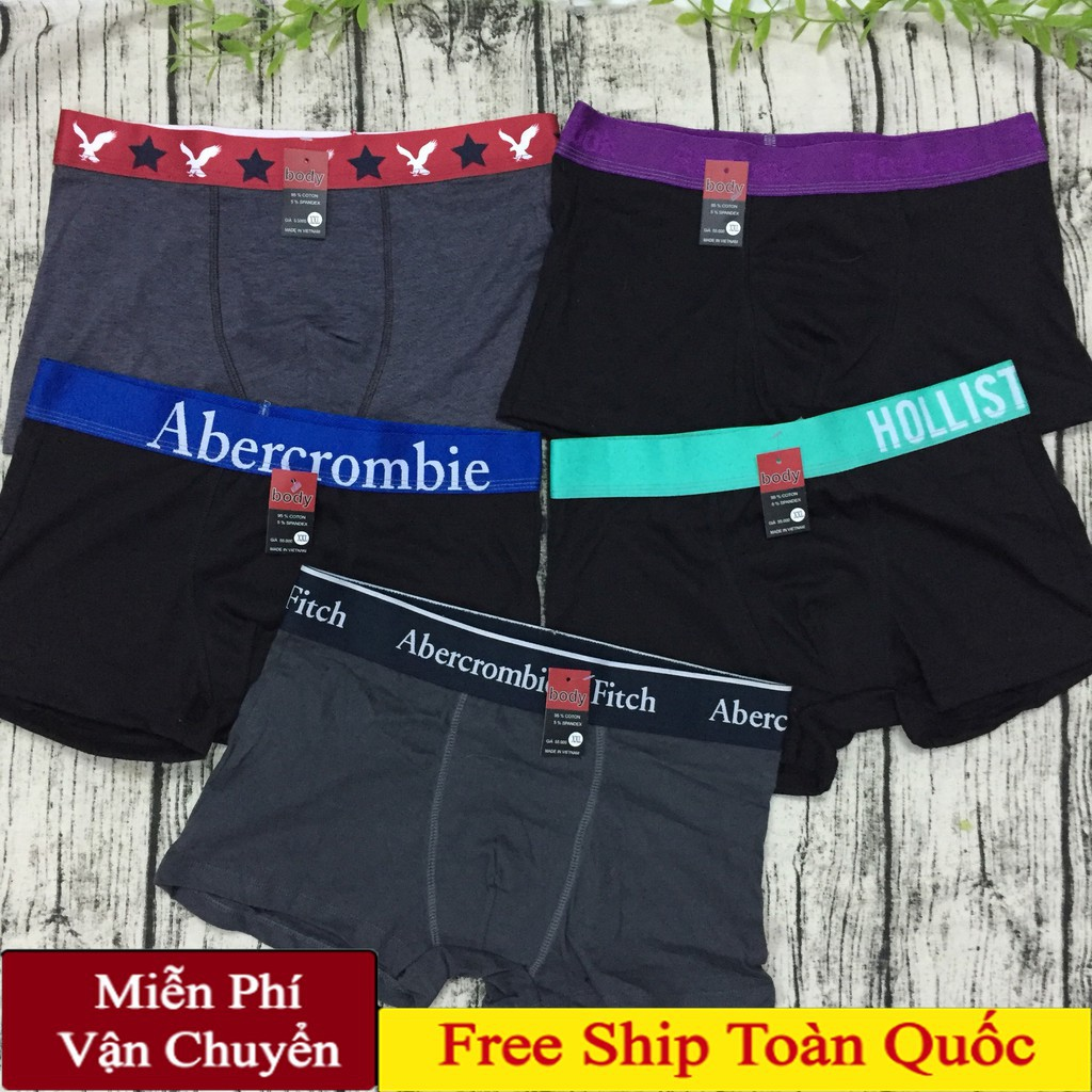 Combo 5 quần lót đùi boxer, quần sịp đùi 100% cotton co giản 4 chiều thoát hơi tốt bền đẹp giá rẻ cho nam