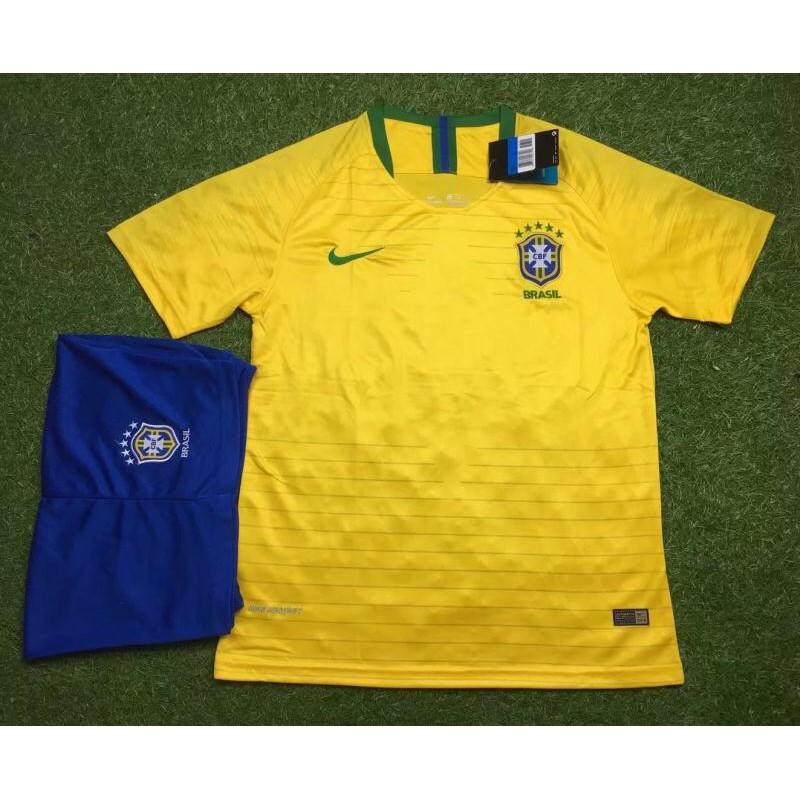 Quần áo đá banh đội tuyển Brazil vàng chất thun xịn( size châu âu)