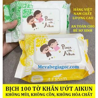 (Made in Việt Nam) Bịch 100 tờ Khăn ướt Aikun không mùi an toàn cho Bé Sơ Sinh thumbnail