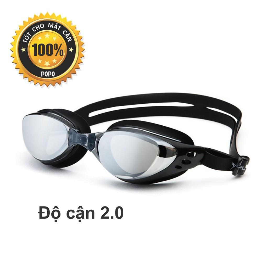 Kính bơi cận 2,0 độ thế hệ mới 610 Đen kiểu dáng thời trang nhỏ gọn, chống UV, chống sương mờ POPO C