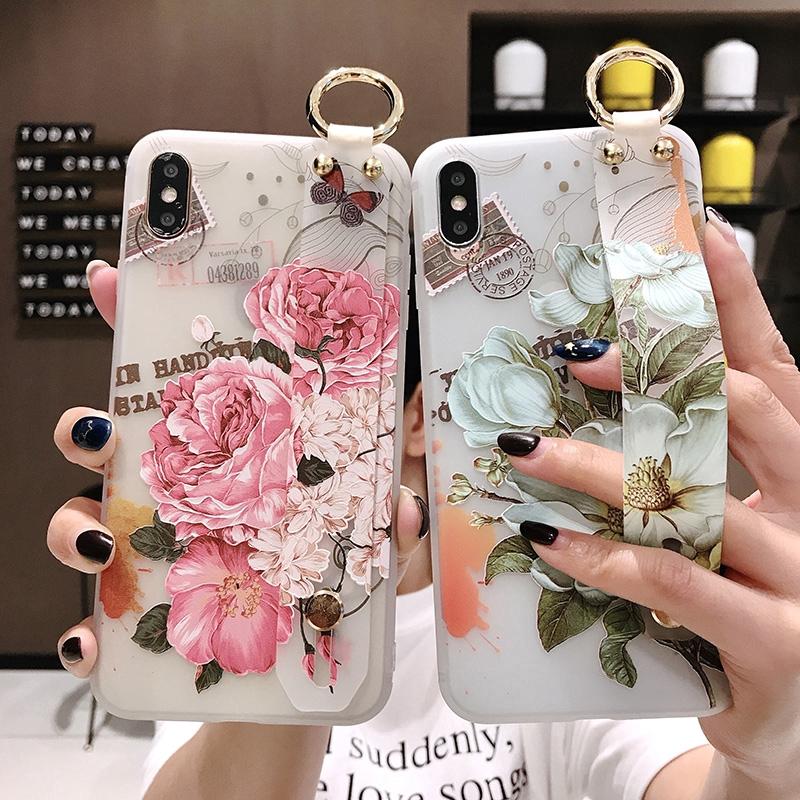 Ốp điện thoại in hoa có dây cho Huawei P10 P20 P30+ Pro Lite Nova 2S 3 3I 3E 4 4E Mate 10 20 PRO Enjoy 8E Honor 7A