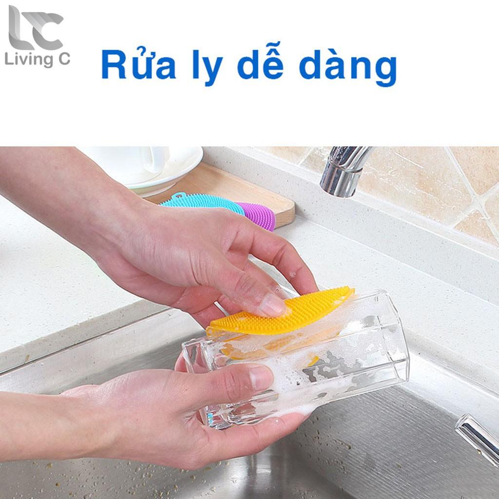 Miếng rửa chén bát bằng silicon dẻo dai, tiện lợi Living C _M15