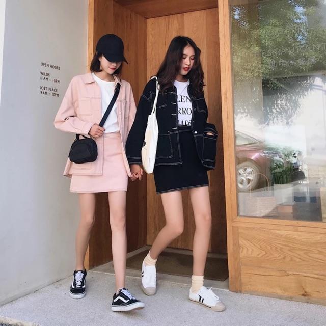 Set áo khoác chân váy kaki ulzzang | Shopee Việt Nam