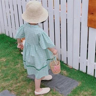 Đầm caro baby doll bé gái