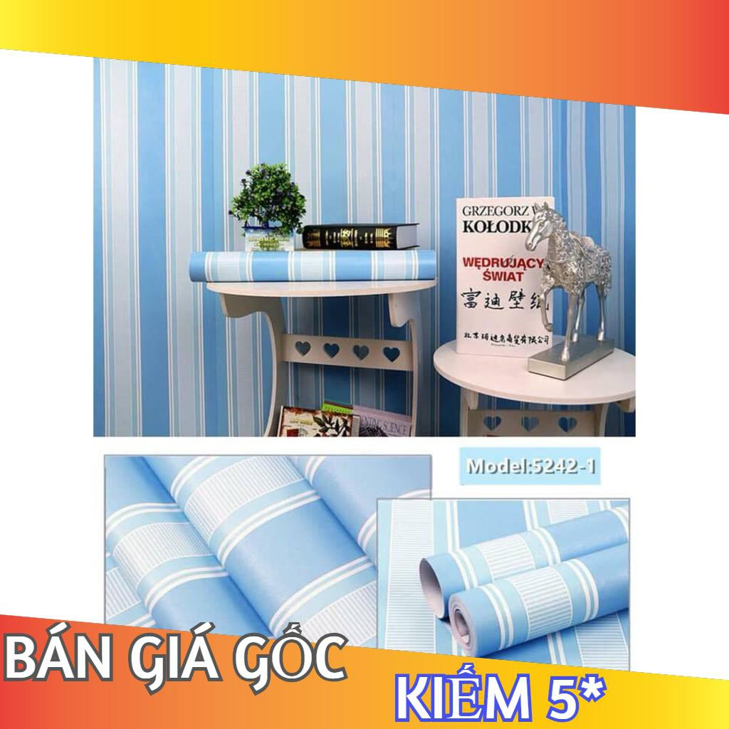 [XẢ] 10m Giấy dán tường sẵn keo khổ 45cm  - Mẫu sọc xanh biển (hàng loại 1)