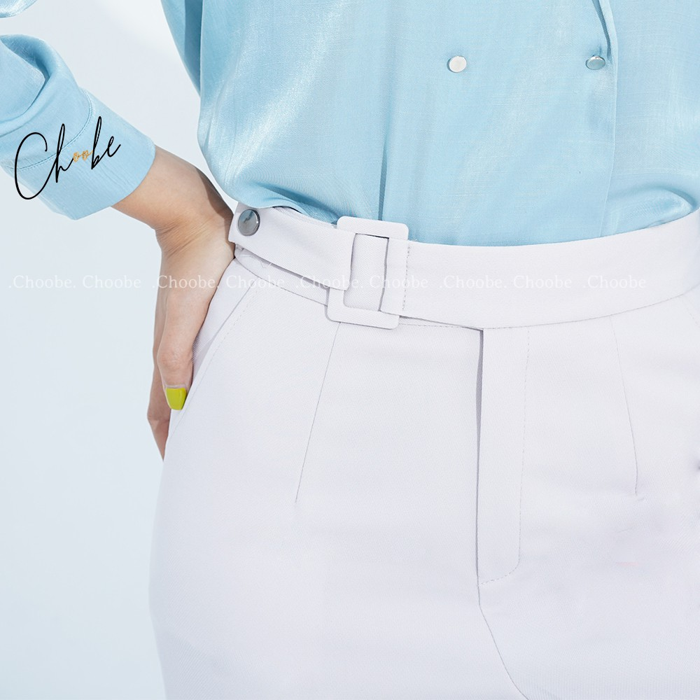 Mặc gì đẹp: Đẹp với Quần baggy nữ Choobe lưng cạp cao đai vải vuông cúc lệch đồ công sở đi học form đẹp màu đen ghi Q02