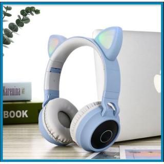 Tai Nghe Headphone Bluetooth Tai Mèo Đáng Yêu Có Đèn Phát Sáng