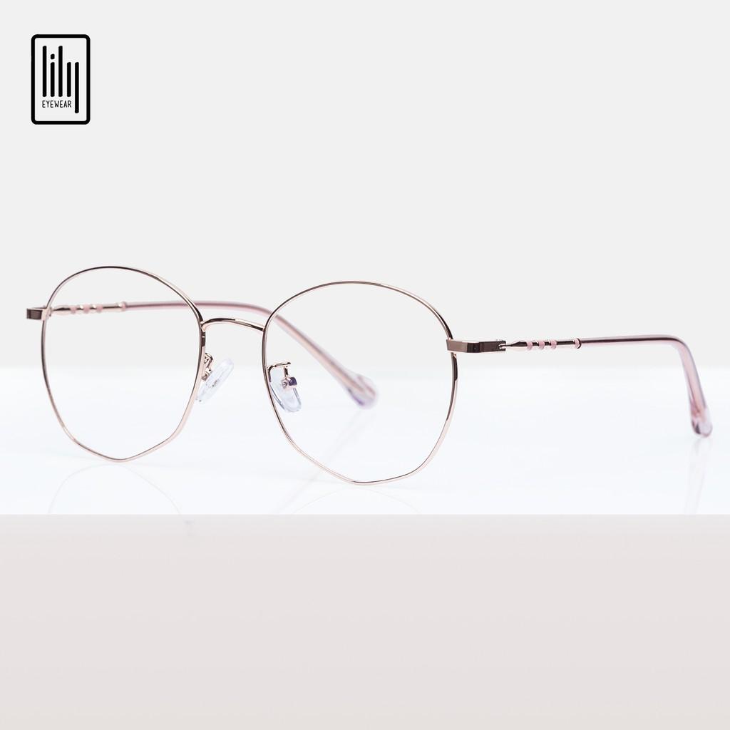 Gọng kính cận nữ Lilyeyewear kim loại, mắt tròn, nhiều màu - Y2984