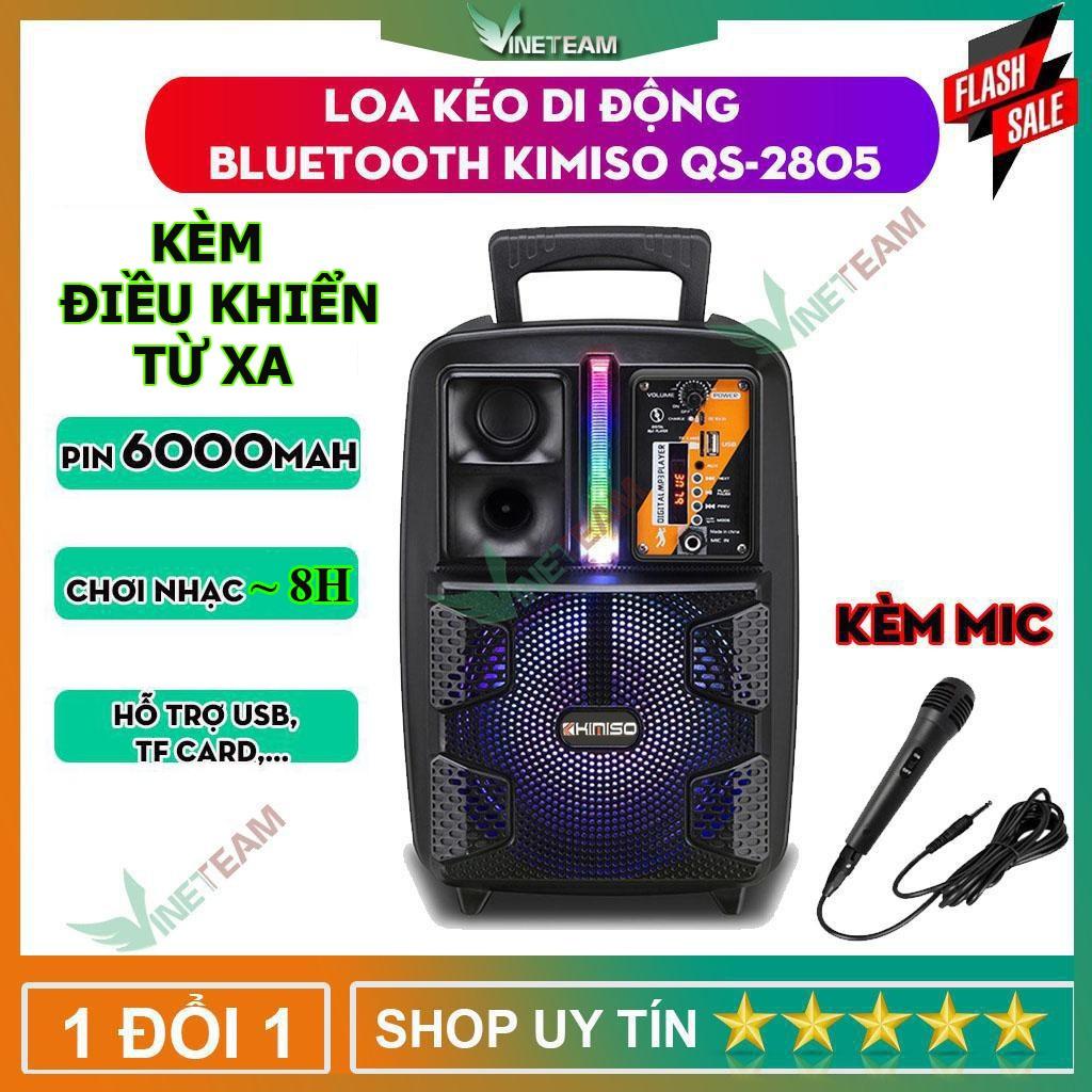 Loa Kéo Di Động Bluetooth Không Dây Kimiso Qs-2805/Qs-7801 Kèm Micro Có Dây  , Âm Thanh Chất Lương Cao, Âm Bass Hay tại Hà Nội