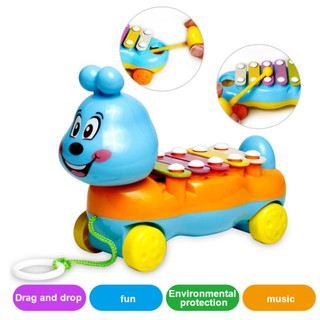 ✨KIDSCLOTHING✨Cartoon Caterpillars Shape Music Toy Piano Car Plastic Pulling Move Baby toys
