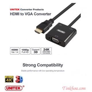 CÁP CHUYỂN HDMI SANG VGA + AUDIO UNITEK Y6333( Y-6333 UNITEK) Cáp xịn dùng cho màn hình máy chiếu