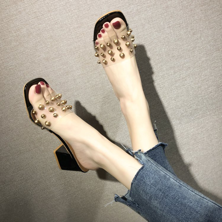 High-heeled slippers female 2019 summer new Korean version of the wild transpare