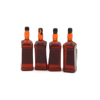 4pcs 1/6 Scale Dollhouse Miniature Drink Whisky Bottles Model Pretend Play