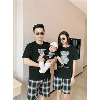 Áo gia đình Familylove - Đồng phục gia đình họa tiết hình gấu cực dễ thương chất liệu cotton 100% co giãn thumbnail