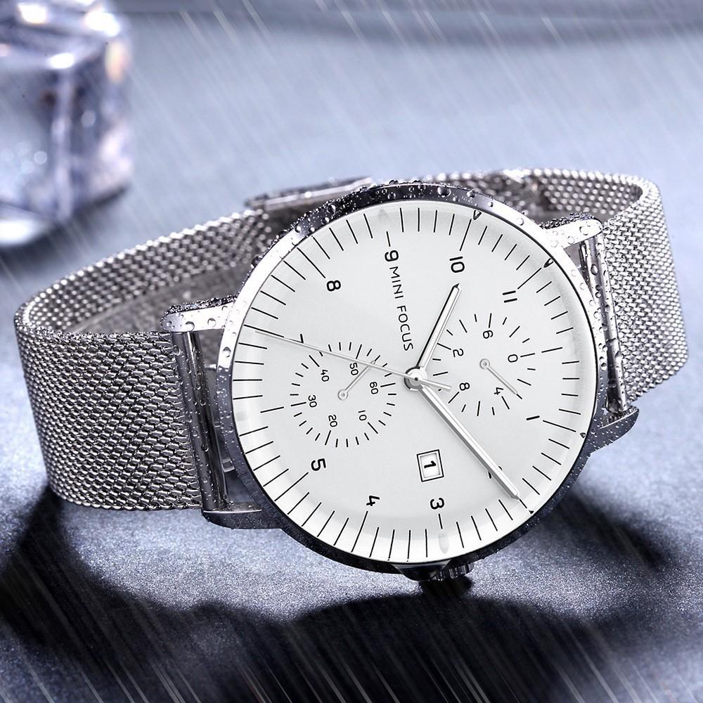 [Tặng vòng tay]Đồng hồ nam Mini Focus chính hãng MF0052G.04 thép không gỉ