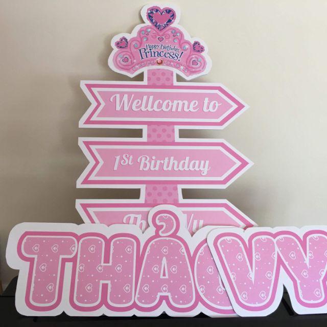 Phụ kiện trang trí tiệc cho bé / Cây welcome, số một , chibi cho bé / bên em chuyên nhận thiết kế và in theo yêu cầu