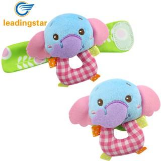JC 2Pcs Cute Fun Baby Infant Squeaky Plush Elephant Monkey Animal Wrist Bracelet