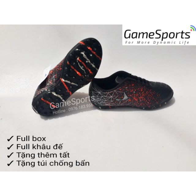 Giầy đá bóng đen ãng ( giầy bóng đá cổ thấp đế TF , giầy thể thao )