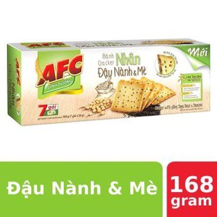 [Mã GRO1KIDO27 giảm tối đa 20K đơn 99K] Bánh AFC Cracker Nhân Đậu Nành & Mè 168g