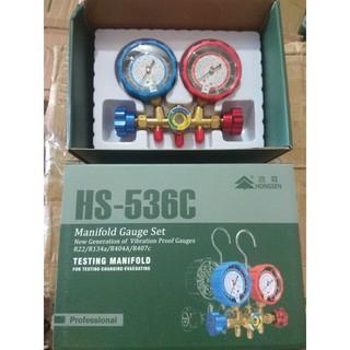 Bộ đồng hồ đo nạp gas đôi hãng Hongsen kèm dây HS-536C