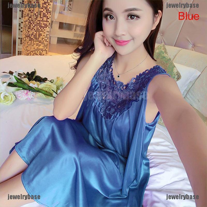 Đầm Ngủ Lụa Phối Ren Không Tay Thời Trang Dành Cho Nữ
