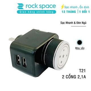 Củ sạc 2 cổng 2,1A Rockspace T21 sạc nhanh tích hợp đèn ngủ tùy chỉnh độ sáng - Hàng chính hãng bảo hành 12 tháng thumbnail