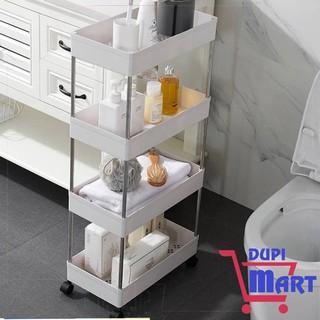 [SIÊU TIỆN ÍCH] Kệ để đồ nhà bếp - kệ để đồ phòng tắm- giá để đồ nhà vệ sinh 4 tầng có bánh xe đa năng tiện dụng size 22
