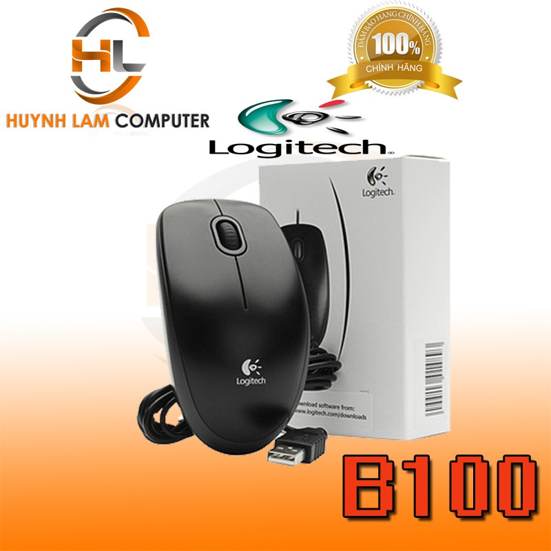 Chuột máy tính có dây Logitech B100 bấm êm chính hãng DGW phân phối - Chính hãng DGW